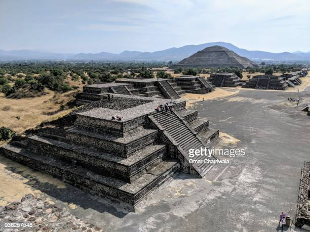 the pyramids of teotihuacan - aztec civilization stock photos and pictures