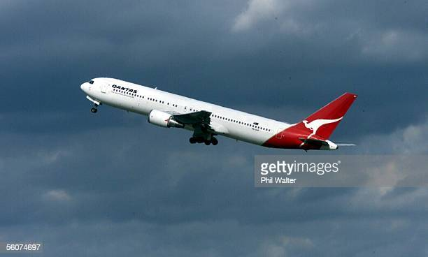 The Qantas Australia 767 jet takes off for Wellington at Auckland Airport after it was flown across the Tasman to provide backup relief for Qantas...