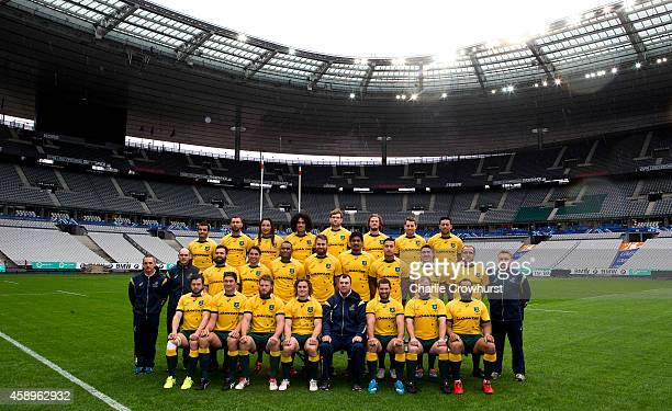The Qantas Wallabies team pictured during the Australia Captain's run ahead of tomorrows game against France at the Stade De France on November 14...