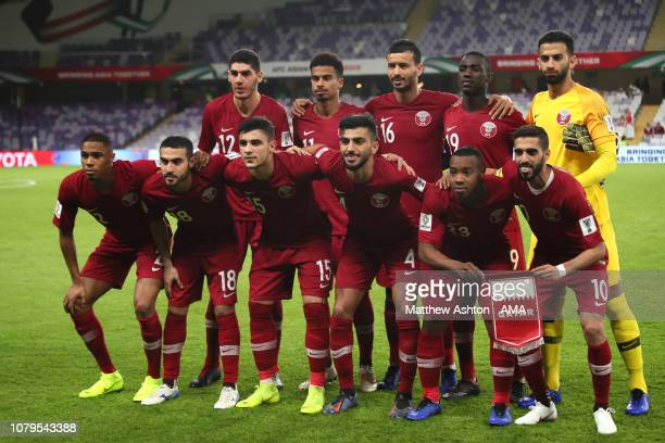 The Qatar players line up for a team photo prior to the AFC Asian Cup Group E match between Qatar and Lebanon at Hazza Bin Zayed Stadium on January 9...