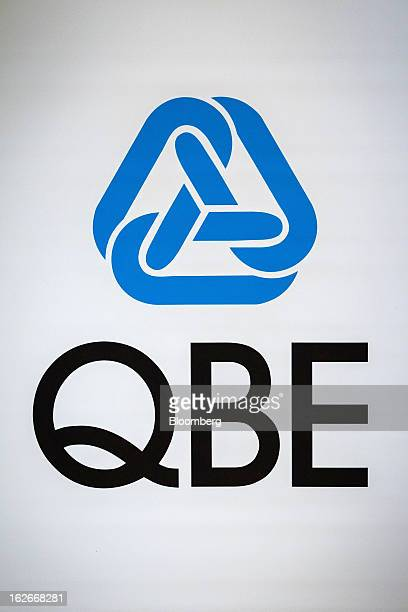 The QBE Insurance Group Ltd logo is displayed at the company's earnings presentation in Sydney Australia on Tuesday Feb 26 2013 QBE Insurance Group...