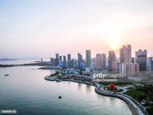 the qingdao skyline. - shandong province stock pictures, royalty-free photos & images