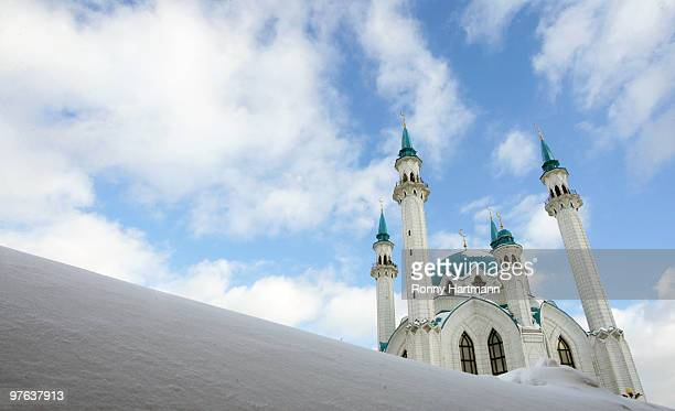 The Qolsharif Mosque part of the historic Kazan Kremlin is seen on March 11 in Kazan Russia