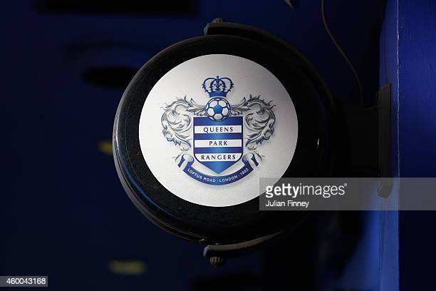 The QPR club logo ahead of the Barclays Premier League match between Queens Park Rangers and Burnley at Loftus Road on December 6 2014 in London...