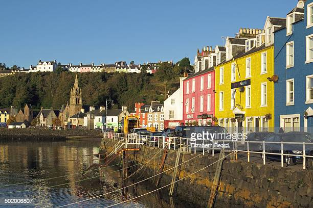 The quaint fishing village of Tobermory on the Isle of Mull with its brightly painted harbour-side buildings.