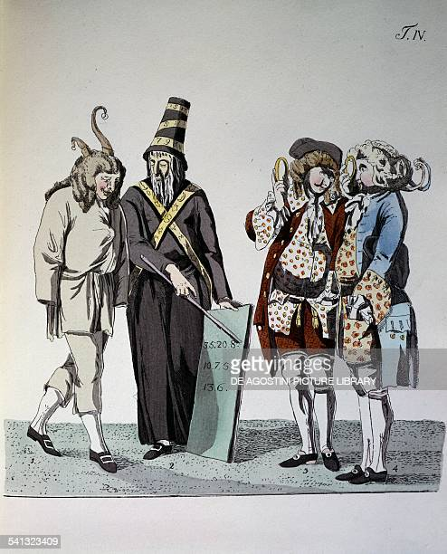 The Quakers, illustration by Johann Wolfgang Goethe and J Georg Schutz for The Roman Carnival, engraving by G Melchior Kraus, 1789. 18th century....