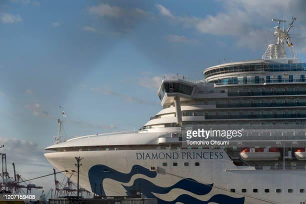 The quarantined Diamond Princess cruise ship sits docked at Daikoku Pier on February 19 2020 in Yokohama Japan About 500 passengers who have tested...