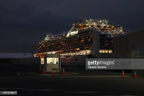 The quarantined Diamond Princess cruise ship sits docked at the Daikoku Pier on February 20 2020 in Yokohama Japan About 500 passengers who have...