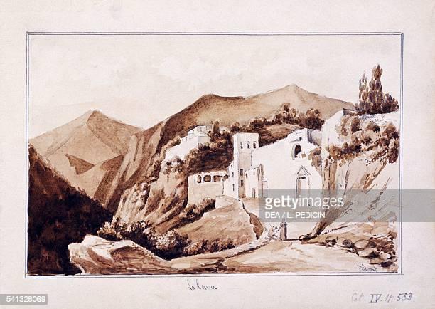 The quarry by Francesco Bidera pencil and watercolour on paper 92x26 cm Italy 19th century Napoli Castelnuovo Societa' Napoletana Di Storia Patria...