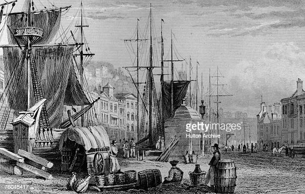 The quay at Bristol Harbour in south west England circa 1800
