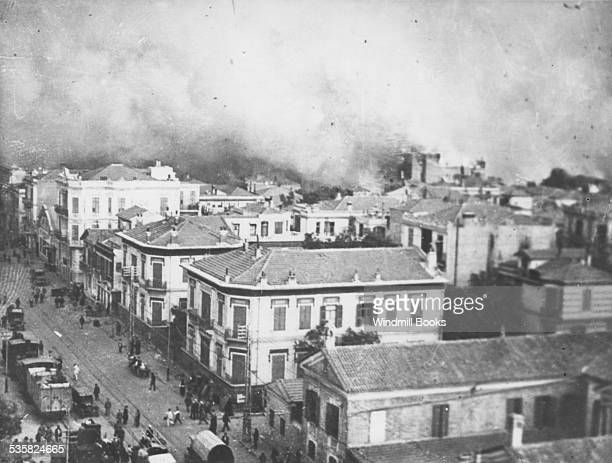 The Quay on fire at Salonika. August 1917.