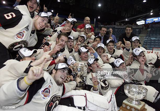 The Quebec Remparts celebrate after defeating the Moncton Wildcats 6-2 in the 2006 Memorial Cup final at the Moncton Coliseum on May 28, 2006 in...
