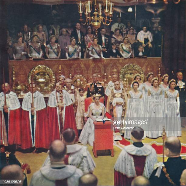 The Queen, after her entry into the Abbey Church of Westminster, is seated in her Chair of Estate', 1953. Elizabeth II , Queen of the United Kingdom...