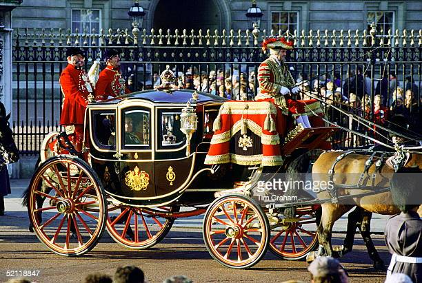 The Queen Alexandra State Coach Taking The Imperial State Crown To The Opening Of Parliamentcirca 1990s