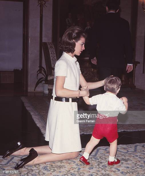 The Queen Anamaria of Greece with his son Pablo in the Zarzuela Palace Madrid Spain