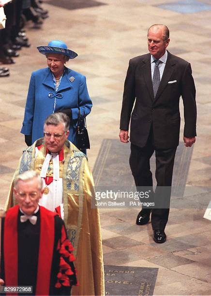 The Queen and Duke of Edinburgh arrive for today's thanksgiving service to celebrate their Golden Wedding anniversary at Westminster Abbey WPA Rota...