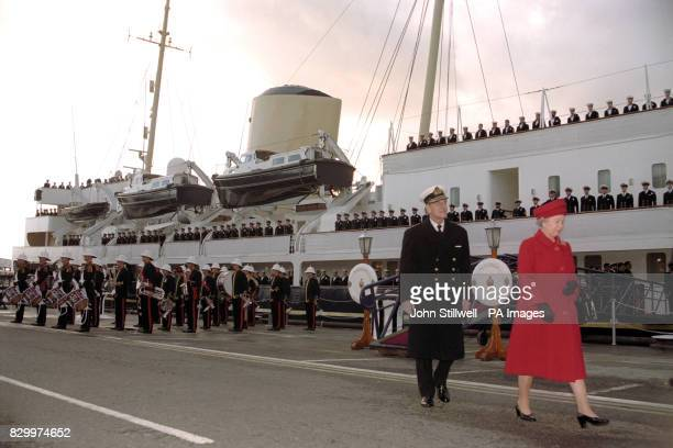 The Queen and Duke of Edinburgh leave the Royal Yacht Britannia for the last time in Portsmouth where it will be paid off today Britannia The Duke of...