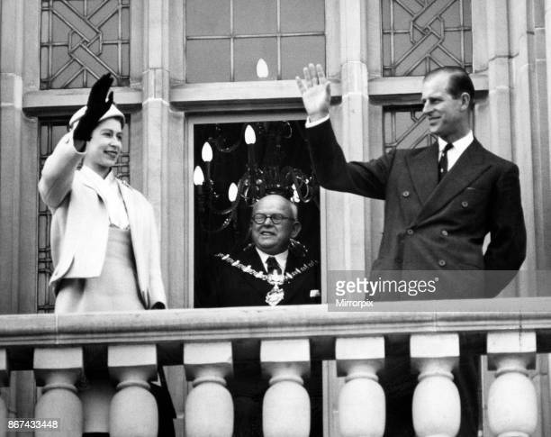 The Queen and Duke of Edinburgh on the balcony of Dudley Town Hall, 24th April 1957.