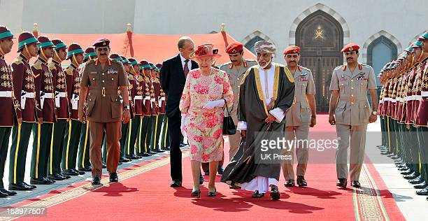 The Queen And Duke Of Edinburgh Say Farewell To Hm Sultan Qaboos Bin Said, The Sultan Of Oman At The Airport At The End Of Their State Visit To...