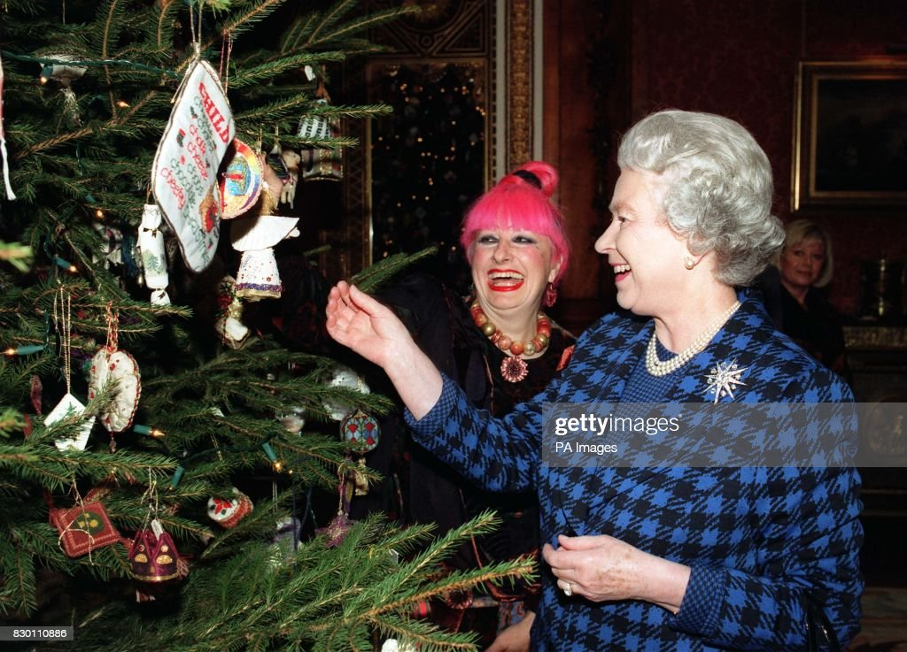 the queen right and fashion designer zandra rhodes admire christmas decorations on the - Queen Christmas Decorations