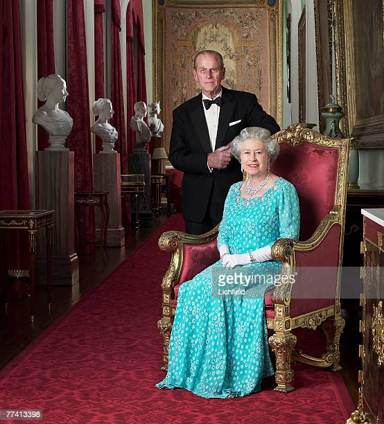 HM The Queen and HRH The Duke of Edinburgh at Buckingham Palace on 26th November 2001 Part of a series of photographs taken to commemorate the Golden...