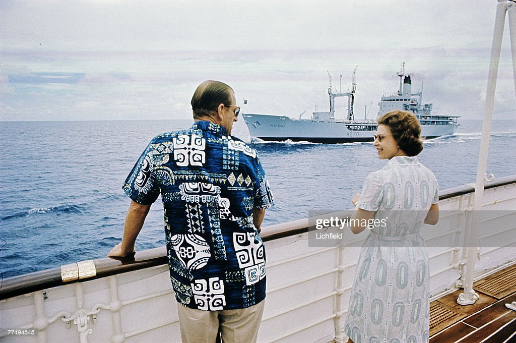 HM The Queen and HRH The Duke of Edinburgh on board HMY Britannia in March 1972. Part of a series of photographs taken for use during the Silver Wedding Celebrations in 1972. (Photo by Lichfield/Getty Images).