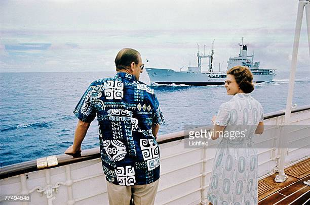 HM The Queen and HRH The Duke of Edinburgh on board HMY Britannia in March 1972 Part of a series of photographs taken for use during the Silver...