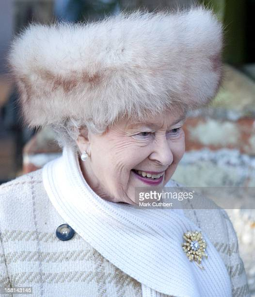 The Queen And Members Of The Royal Family Attend The Morning Service On Christmas Day At Sandringham Church Norfolk