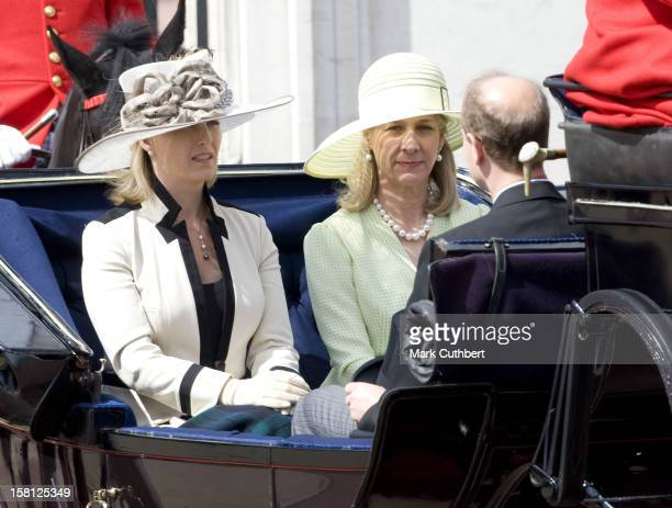 The Queen And Other Members Of The Royal Family At Trooping The Colour In London.