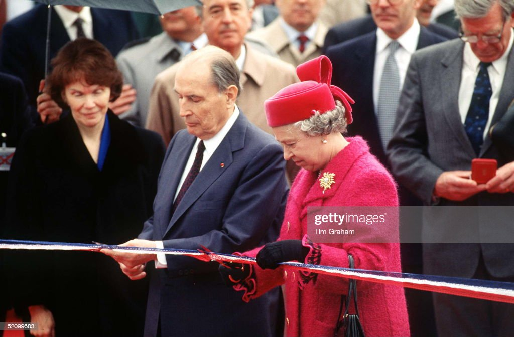 The Queen And President Mitterrand Opening The Channel Tunnel