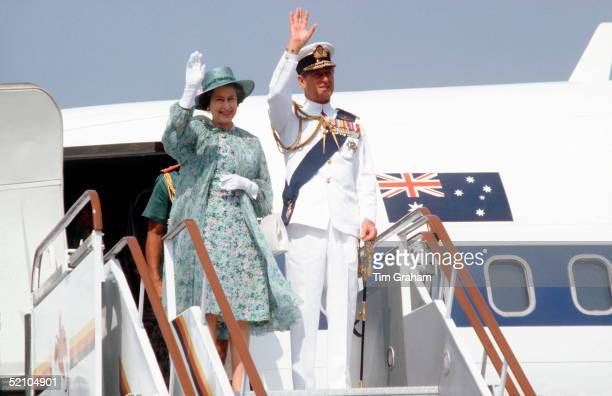 The Queen And Prince Philip Arriving For An Official Tour Of Papua New Guinea He Is Wearing Tropical White Naval Uniform