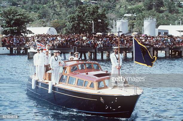 The Queen And Prince Philip Arriving In Honiara From The Royal Yacht Britannia On The Royal Barge