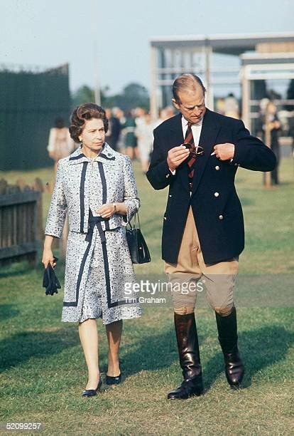 The Queen And Prince Philip At Guards Polo Club Smiths Lawn Windsor