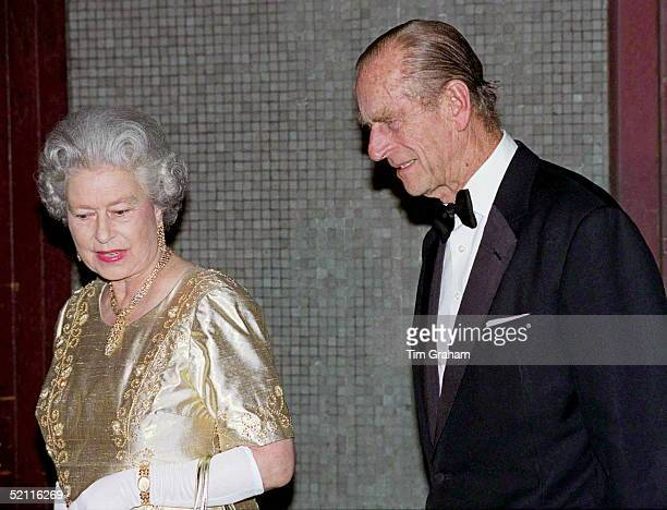 The Queen And Prince Philip At The Festival Hall In London For 'the Royal Gala' To Celebrate Their Golden Wedding Anniversary. The Queen Chose A Gold...