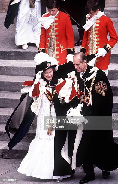 The Queen And Prince Philip At The Garter Ceremony Windsor