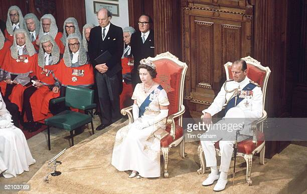 The Queen And Prince Philip At The State Opening Of Parliament In Wellington New Zealand During The Queen's Silver Jubilee Tour