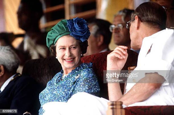 The Queen And Prince Philip Chatting In Fiji During The South Pacific Tour
