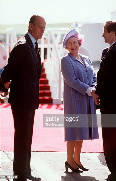 The Queen And Prince Philip Disembarking Royal Yacht Britannia For The Start Of Their Annual Holiday In Scotland