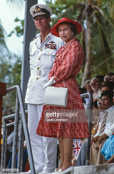 The Queen and Prince Philip in Kiribati on the Royal Tour of the South Pacific October 23 1982