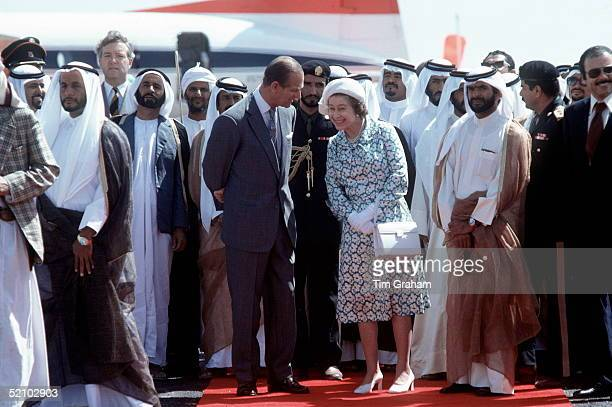 The Queen And Prince Philip Laughing Together On A Visit To Abu Dhabi On Their Tour Of The Gulf Statesthey Were Watching The Ruler Hh Sheikh Zayed...