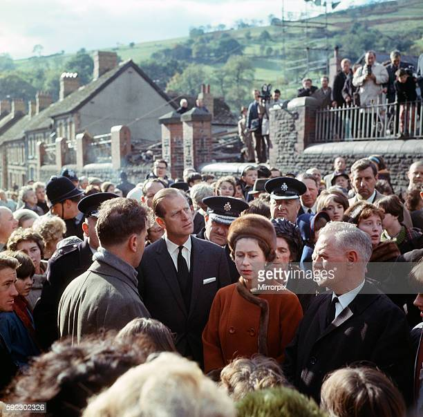 The Queen and Prince Philip visiting Aberfan 29th October 1966