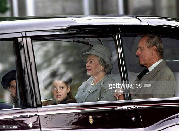 The Queen And Prince Philip With Grand-daughters Princess Beatrice And Princess Eugenie Attending Prayers For The Anniversary Of The Death Of The...