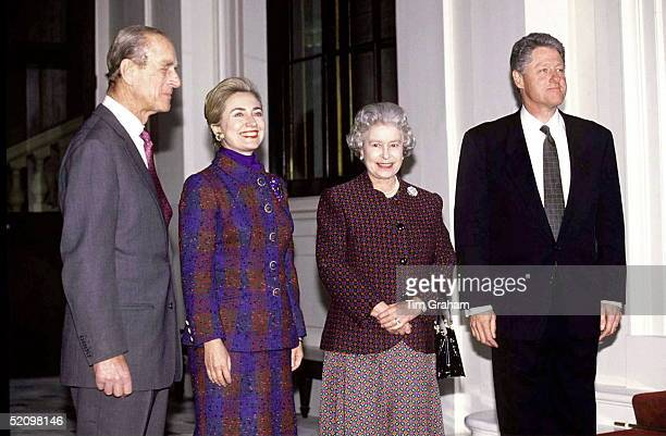 The Queen And Prince Philip With President Bill Clinton And His Wife Hillary At Buckingham Palace