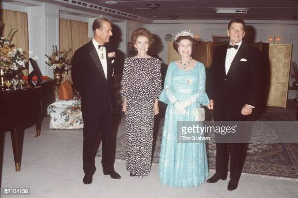 The Queen And Prince Philip With President Ronald Reagan And His Wife Nancy Reagan On Board The Royal Yacht Britannia During An Official Tour Of...