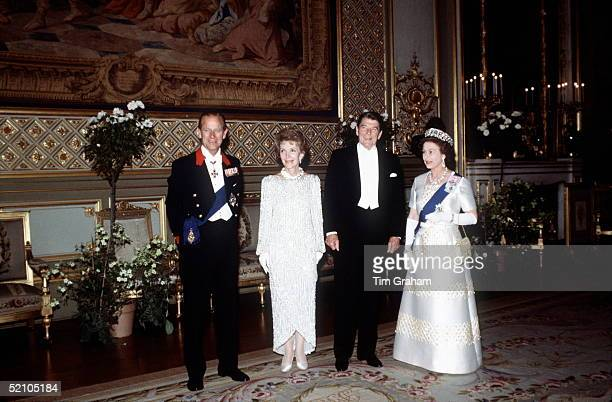 The Queen And Prince Philip With President Ronald Reagan And Nancy Reagan At A State Banquet At Windsor Castle.