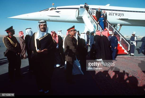 The Queen And Prince Phillip Arriving By Concorde At Riyadh Airport In Saudi Arabia.