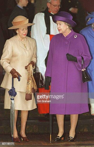 The Queen And Princess Margaret After Christmas Day Service At Sandringham Church