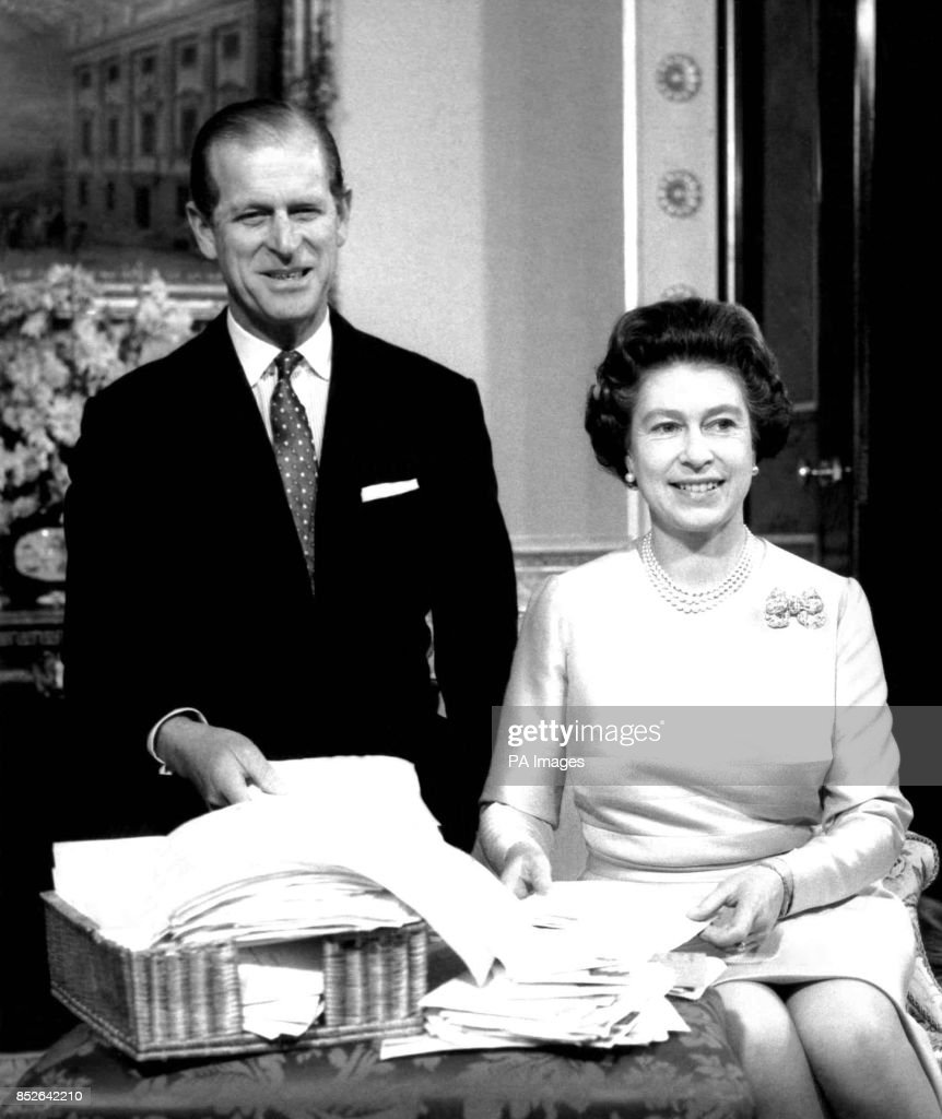 The Queen And The Duke Of Edinburgh In The Belgian Suite At Buckingham Palace With