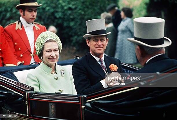 The Queen And The Duke Of Edinburgh In The Carriage Procession At Royal Ascotthey Attended 1922 June 1973