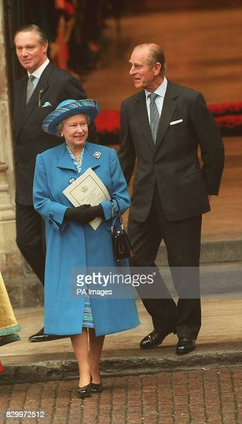 The Queen and the Duke of Edinburgh leaving Westminster Abbey today following the thanksgiving service to celebrate their Golden Wedding Anniversary...